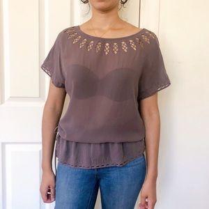 Massimo Dutti purple blouse cutouts small BL